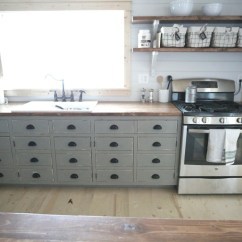 Kitchen Open Shelves Faucet With Pull Down Sprayer Ana White For Our Cabin Diy Projects