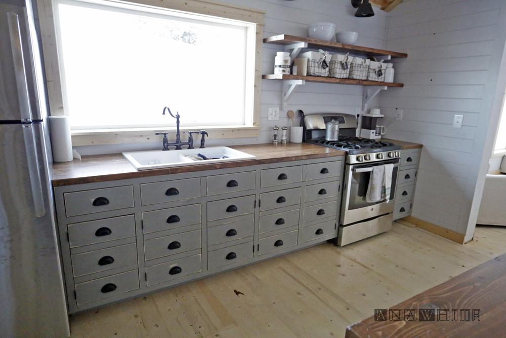 Ana White  DIY Apothecary Style Kitchen Cabinets  DIY