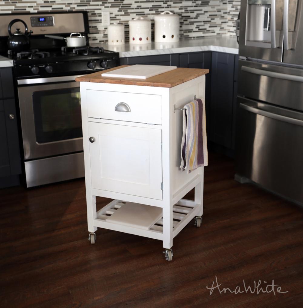 White Kitchen Island Cart