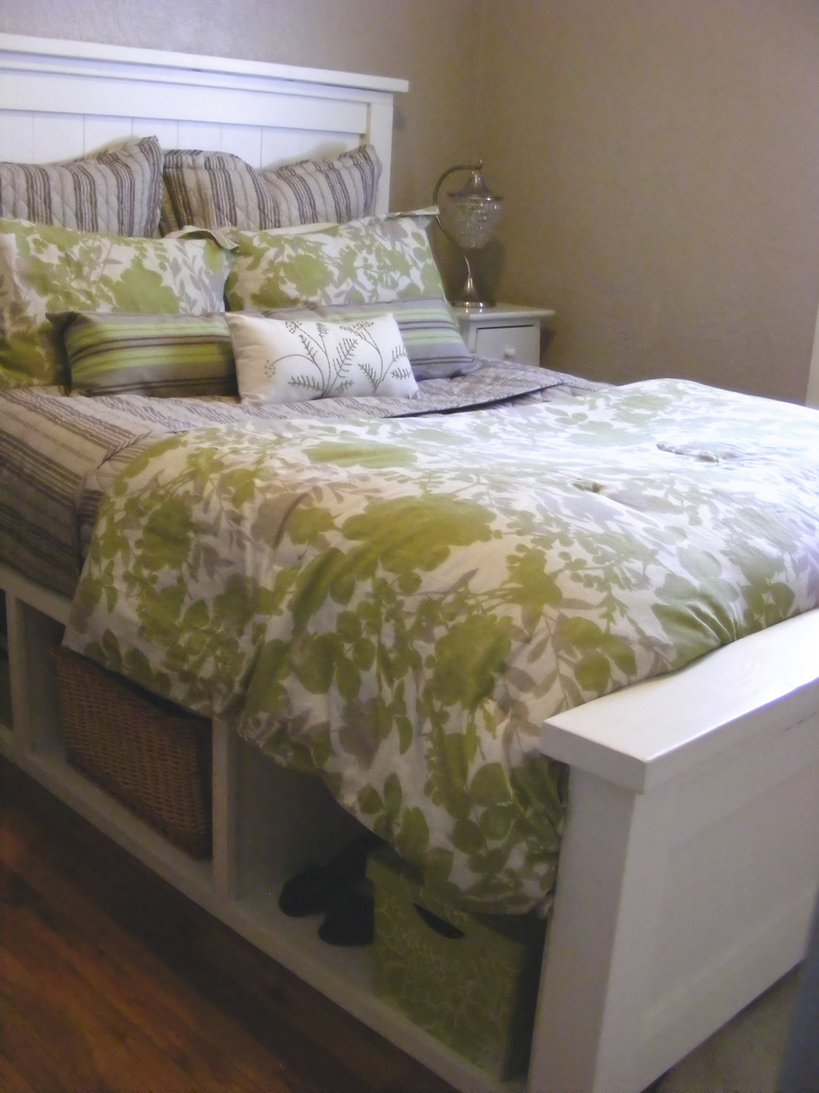Ana White Farmhouse Storage Bed With Hinged Footboard