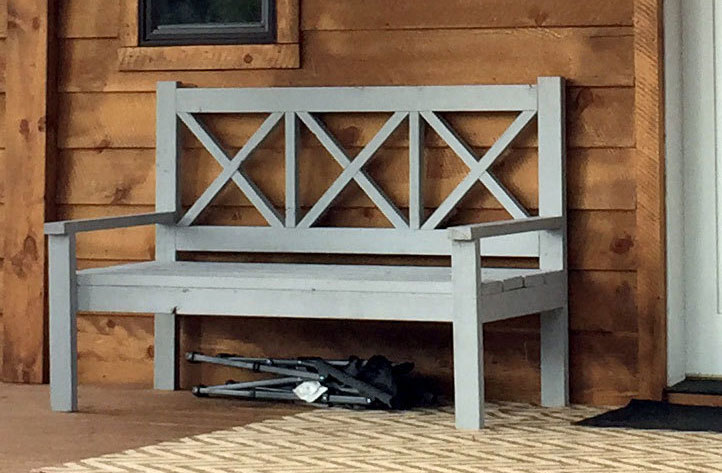 large porch bench with x backs ana white