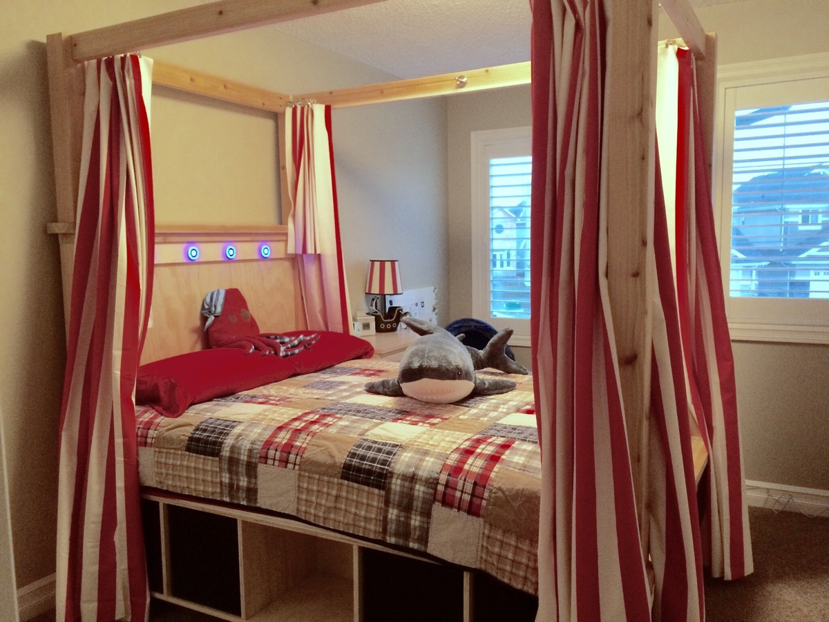 Ana White Full Size Farmhouse Canopy Bed With Storage DIY Projects