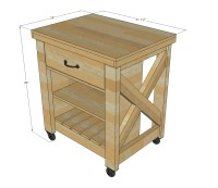 Ana White | Rustic X Small Rolling Kitchen Island - DIY ...