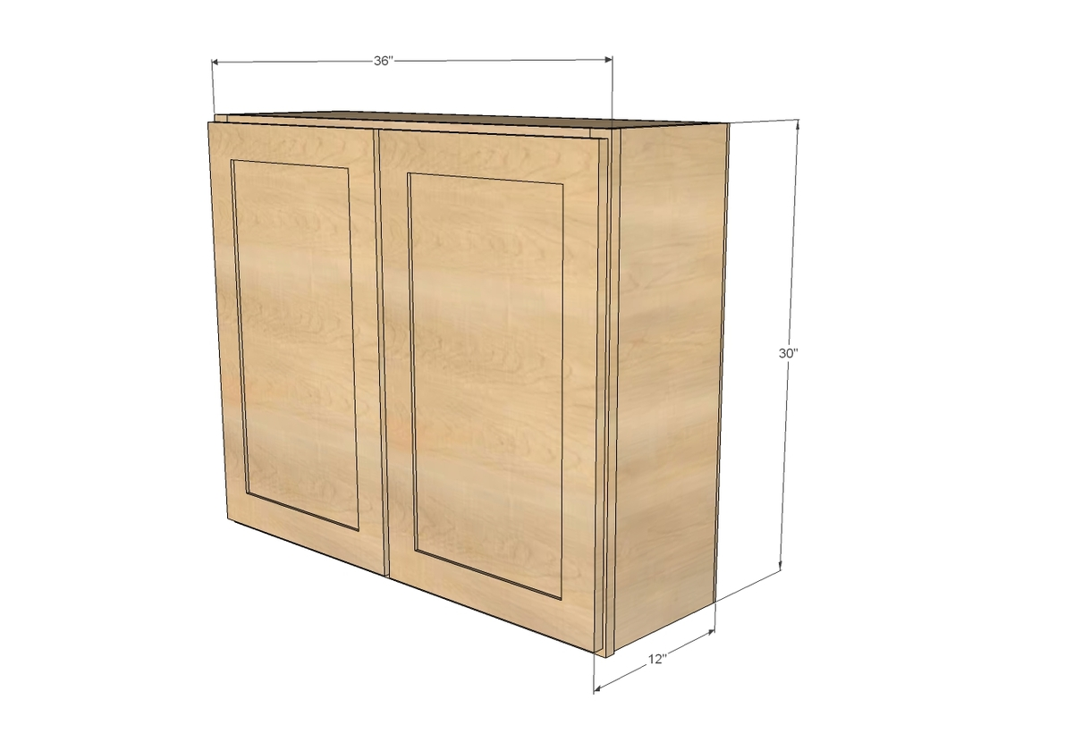 building kitchen wall cabinets aide mixer attachments ana white 36 cabinet double door momplex vanilla diy projects