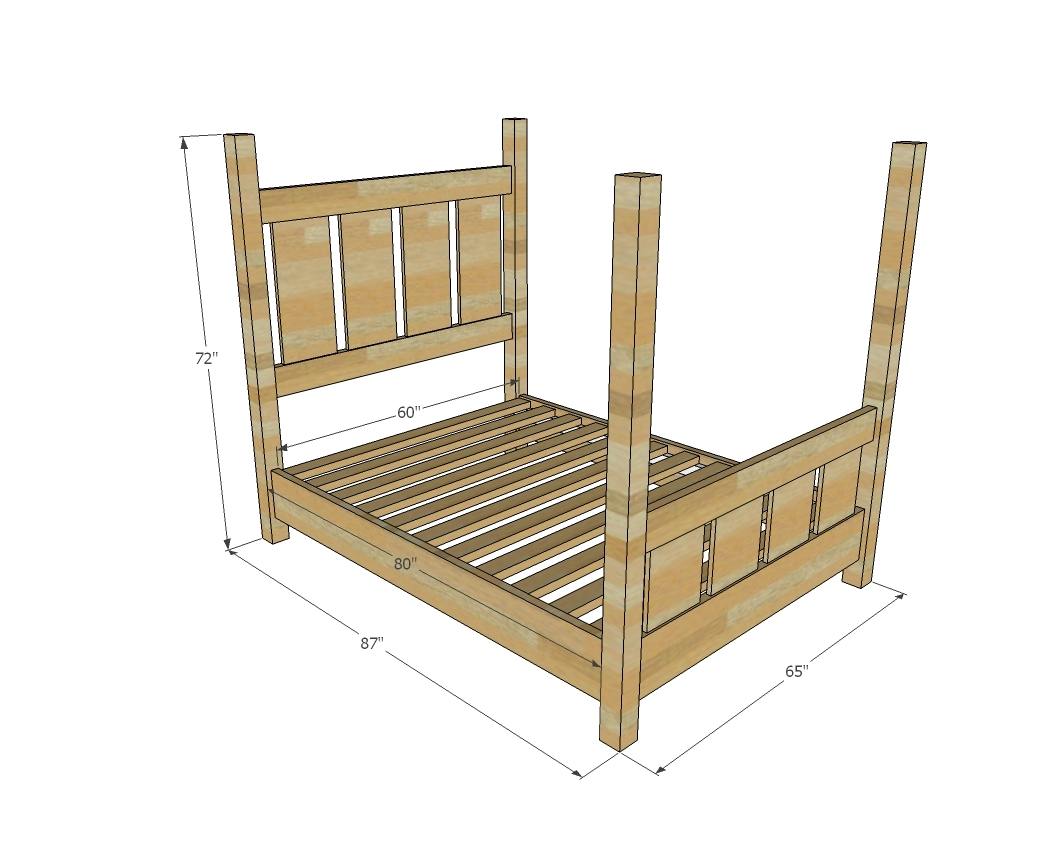 Ana White Slatted Four Post Farmhouse Bed