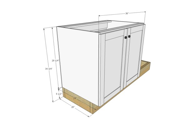 Ana White Euro Style Kitchen Sink Base Cabinet For Our Tiny