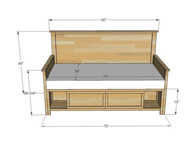Hailey Storage Daybed With Back And Arms