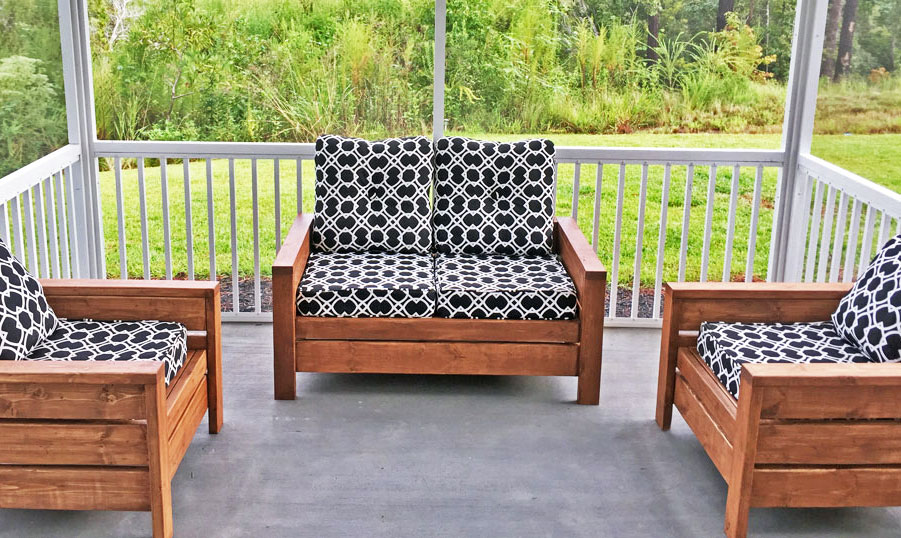 modern outdoor chair from 2x4s and 2x6s