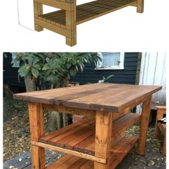 Kitchen Workbench Oak Cabinets Ana White Rustic Island Built By House Food Baby Diy After Many Requests I Took A Stab At Designing Similar And Added The Plans Below It Is Easy To Alter For Your Specific Dimensions