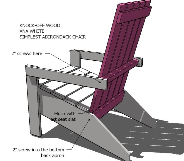 adirondack chair diy ana white design bamboo s projects build the back as shown above