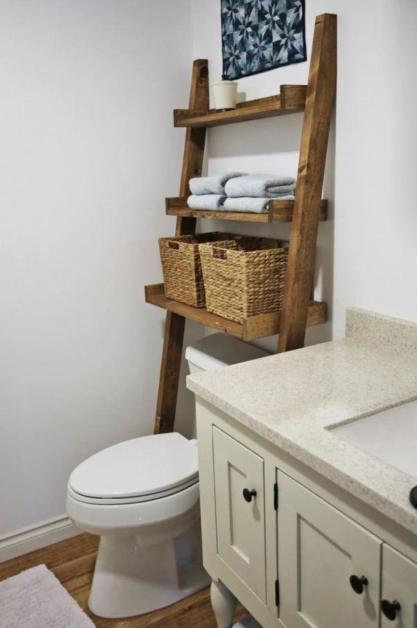 Bathroom Storage Over Toilet Ladder Shelf