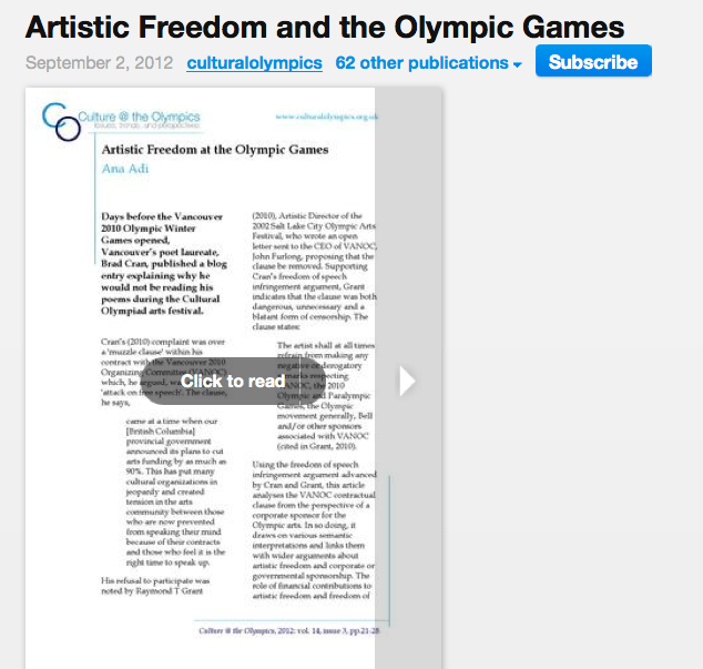 Artistic Freedom at the Olympic Games