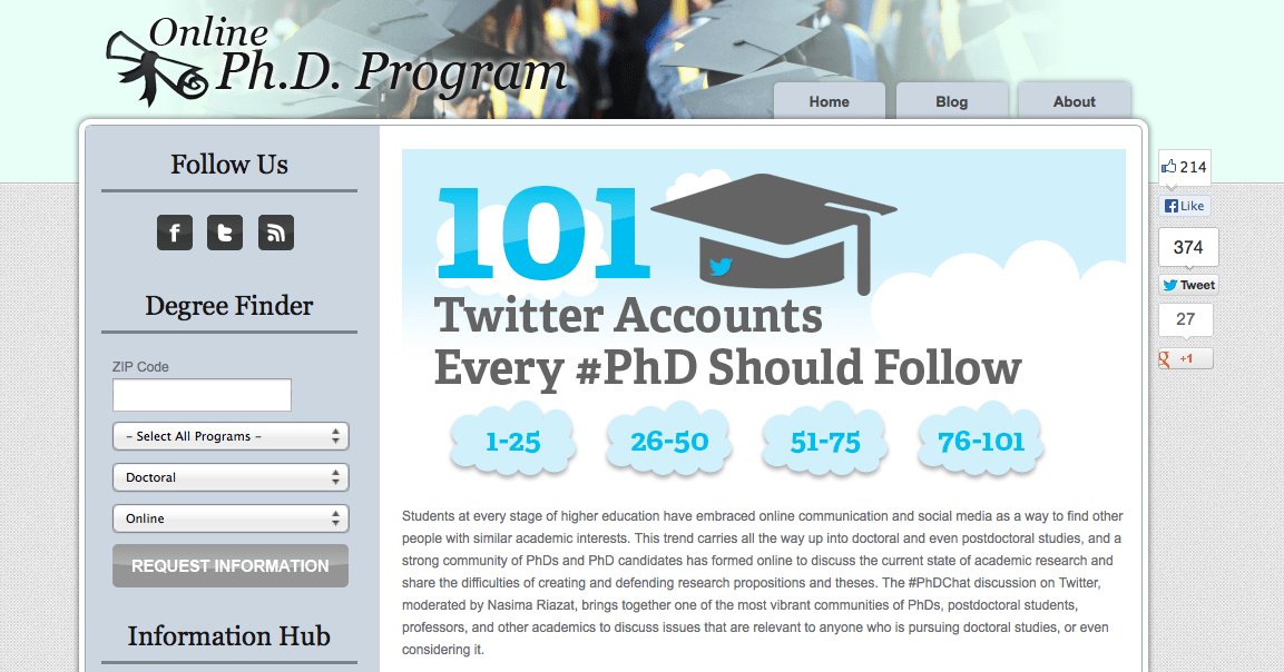 In top 20 of 101 Twitter Accounts Every PhD Should Follow