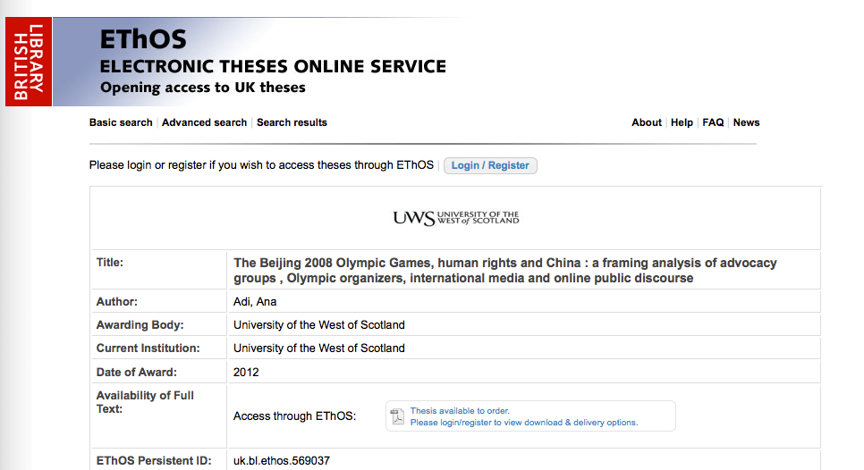 My PhD Thesis in the British Library