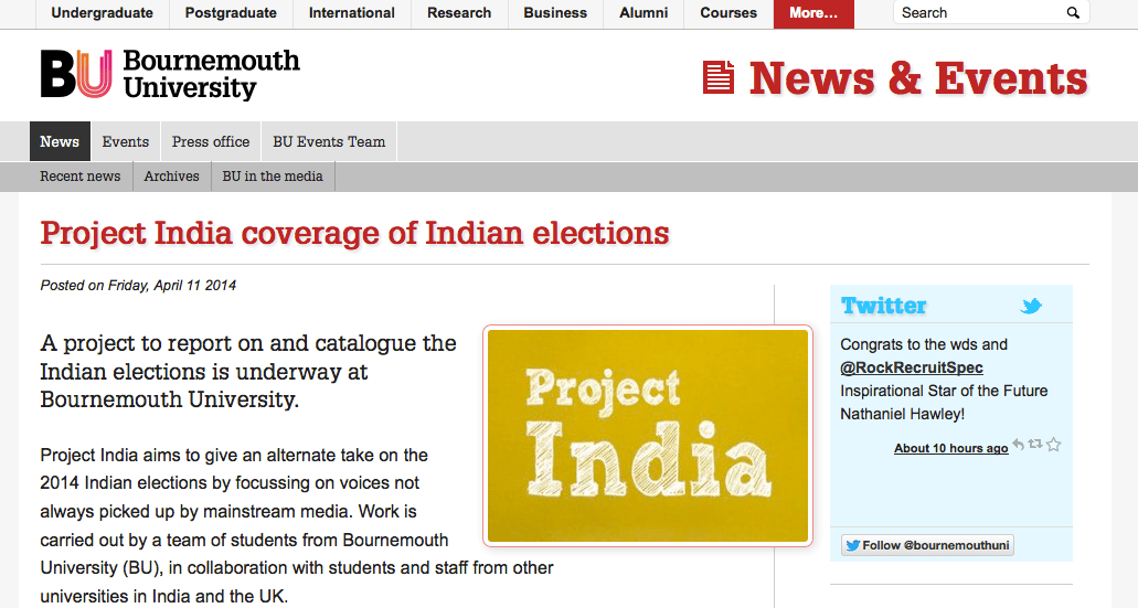 Project India in the press