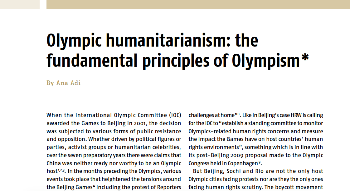 New publication: Olympic humanitarianism – the fundamental principles of Olympism