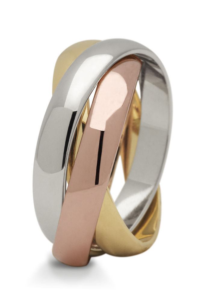 1 Paar Trauringe Hochzeitsringe Gold 585  Tricolor  3