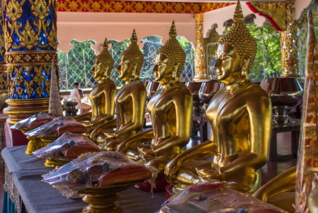 Offerings in front of buddhas.