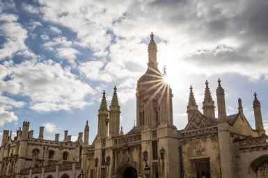 Sun setting behind King's College