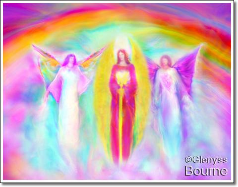 Communion of Archangels - Gabriel, Michael and Raphael painting