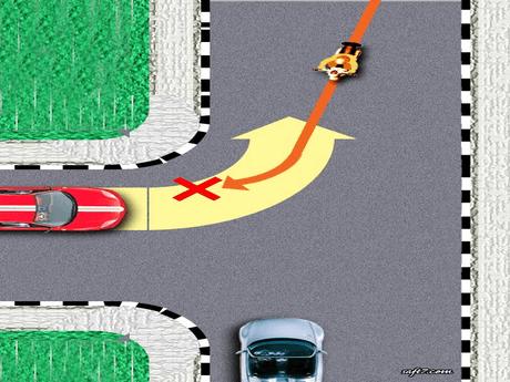 Berbeloklah mengikuti gambar yang bercentang hijau (e) via saft7.com