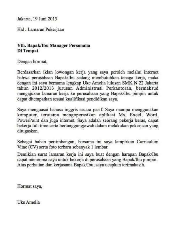 Contoh Surat Lamaran Kerja Karyawan 4