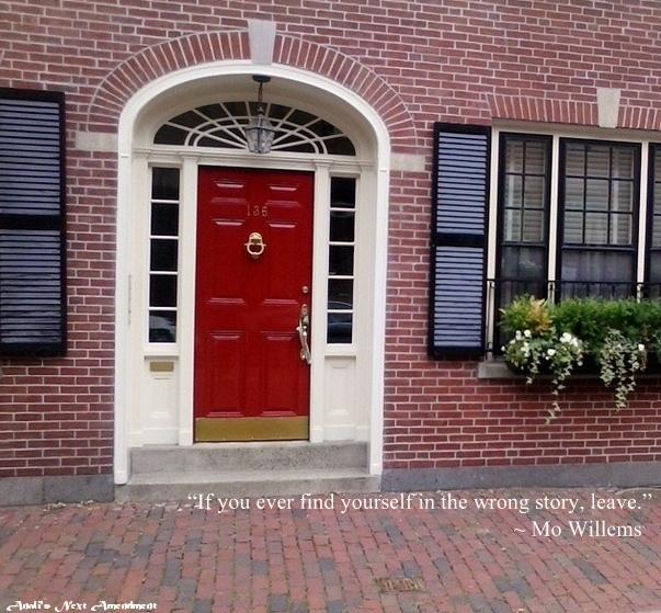 red door with quote
