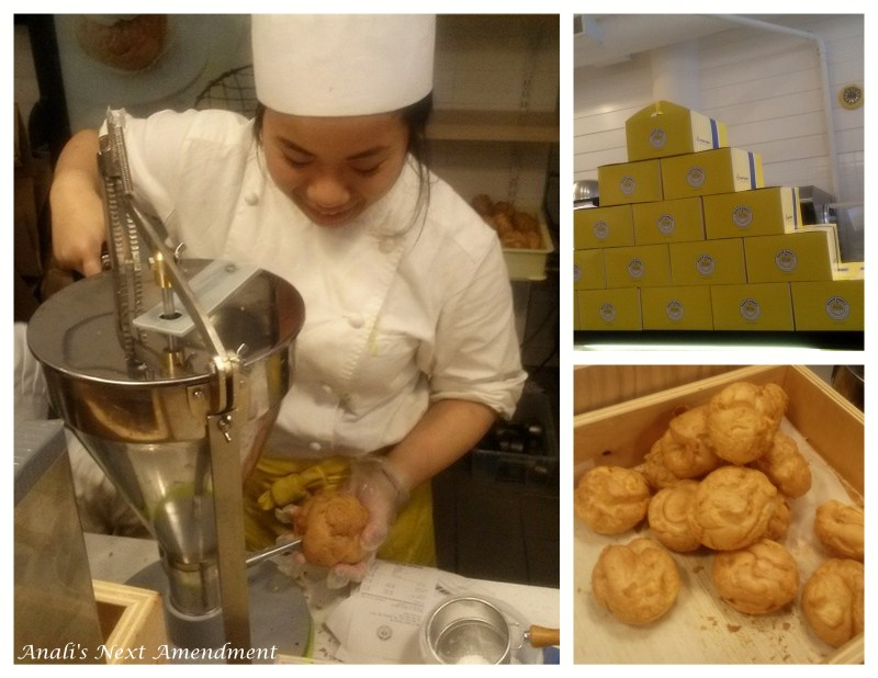 cream puffs being filled collage