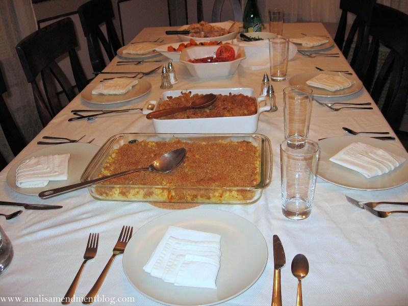 Potluck dinner table