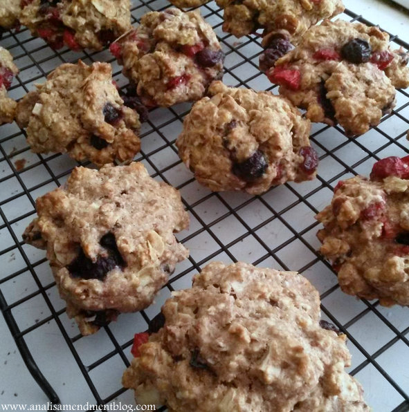 Double Berry Almond Breakfast Cookies cooling on a rack.