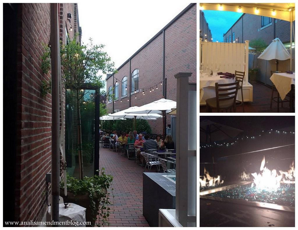 Views of outdoor seating at Novara restaurant.