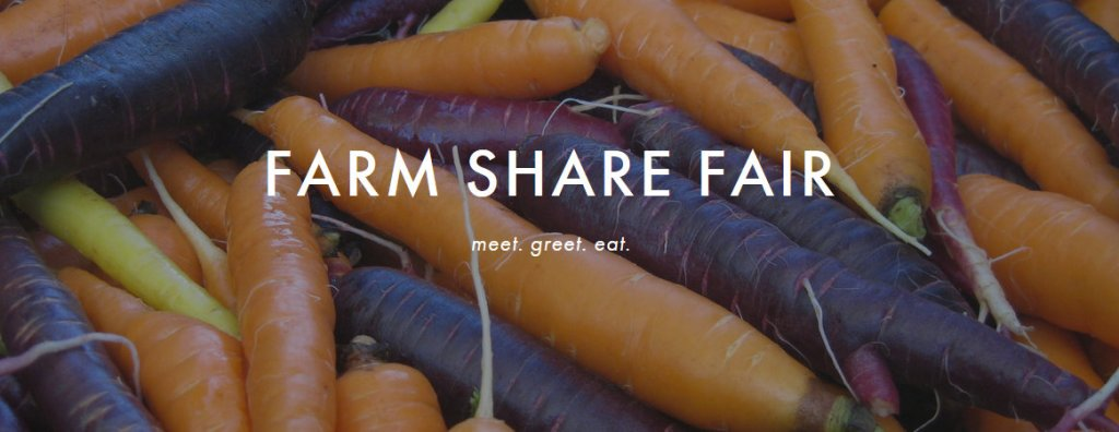 Fresh, raw carrots in shades of orange of purple with the words Farm Share Fair.