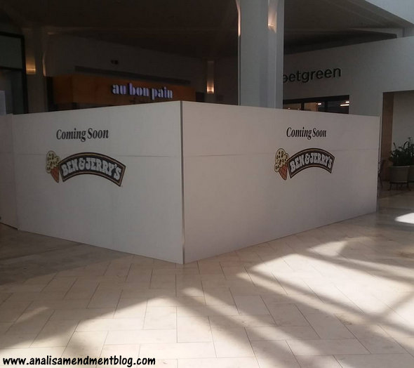 Walled off area in the Prudential Center food court area with Coming Soon Ben & Jerry's written on it.