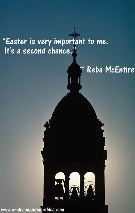 Silhouette of a church steeple with three bells, next to quote by Reba McEntire.