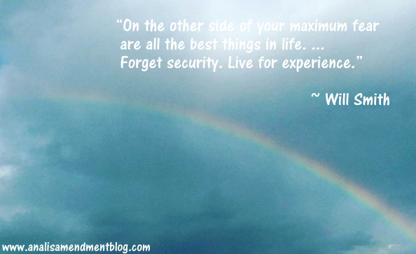Bright blue sky with a rainbow in the background along with a quote by Will Smith.