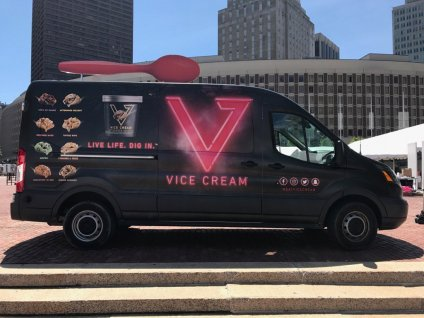 Vice Cream truck shown at city hall plaza in Boston, ready to give out ice cream.