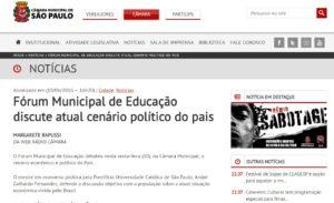 Participação da Análise Econômica Consultoria no Fórum Municipal de Educação da Câmara Municipal de São Paulo