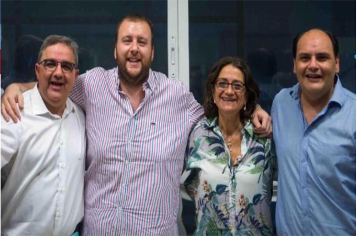 El actual gobernador de Catamarca, Raúl Jalil; Francisco Mercado; Lucia Corpacci, ex gobernadora; y Gustavo Saadi, intendente de la capital
