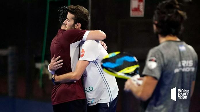 Denis Perino y Jorge Ruiz tras clasificarse para octavos de final Estrella Damm València Open 2020
