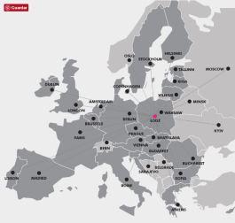 Ubicación geográfica estratégica de Lodz, al centro de Polonia.