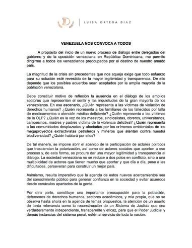 Comunicado ante el diálogo de Luisa Ortega Díaz