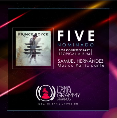 """El productor y músico ganó nominación por su participación en """"Five"""", de Prince Royce"""