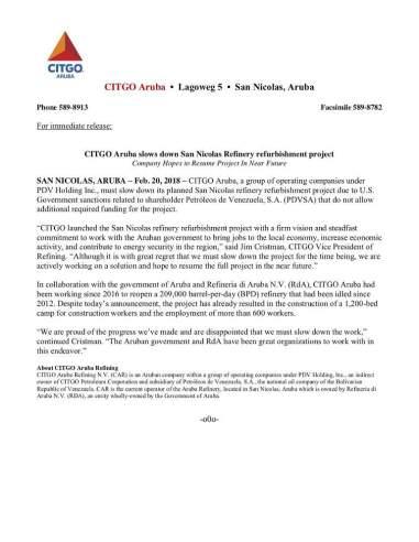 CITGO Aruba anuncia paralización del proyecto de renovación de refinería de San Nicolás 1
