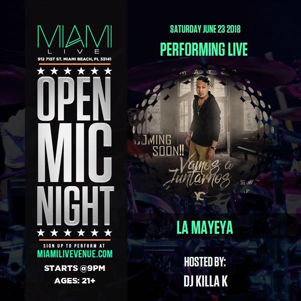Flyer de La Mayeya El Raperito en su visita a Miami