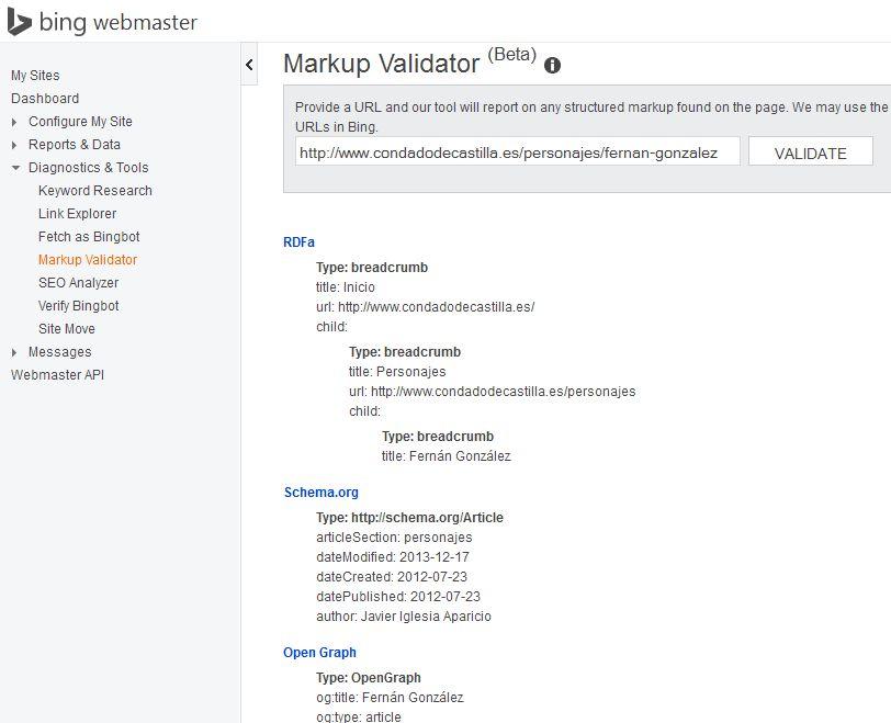Herramientas de Bing webmaster tools para validación de marcado semántico