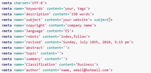 Metadatos y metaetiquetas en HTML5