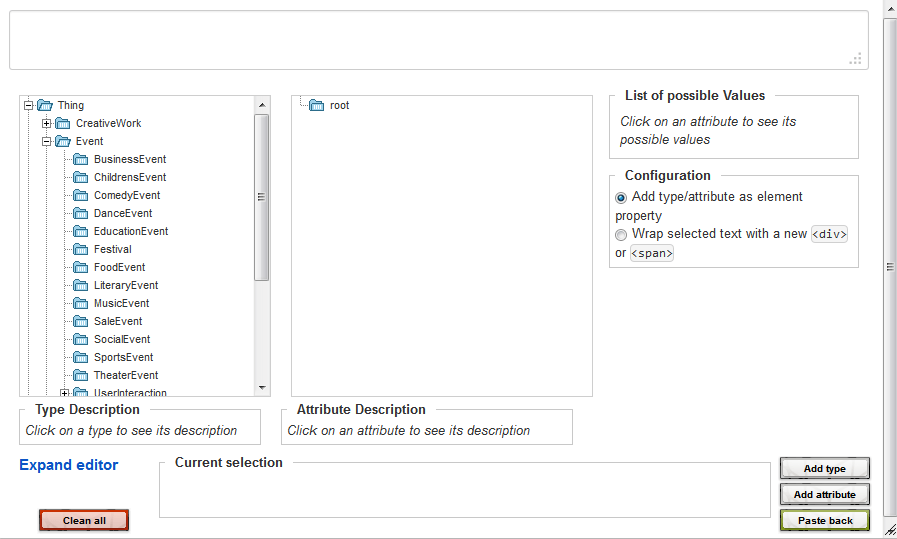 Ventana de J4Schema para seleccionar microdatos schema.org