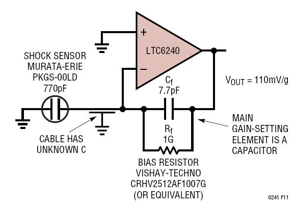 Dual Capacitor Wiring Diagram Ltc6240 Piezoelectric Shock Sensor Amplifier Circuit