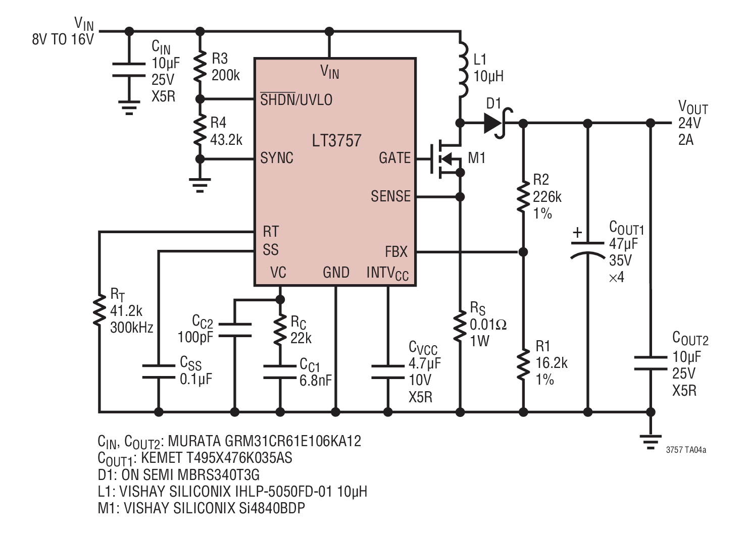 12vdc to 12vac converter circuit diagram how make a venn lt3757 8v 16v input 24v 2a output boost