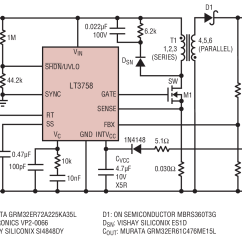 220v To 12v Transformer Wiring Diagram Hella Horn Lt3758 Output Nonisolated Flyback Power Supply Circuit